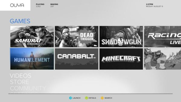 The Ouya's games store is one of its biggest assets, featuring a wide variety of titles from over 40,000 developers.