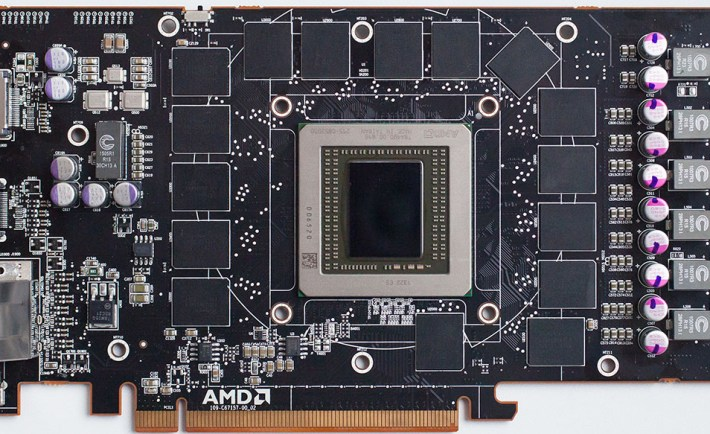 AMD Radeon R9 290X Board showcases the Hawaii GPU and 4GB GDDR5 memory.