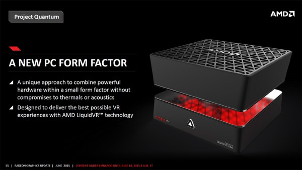 Project Quantum was invented to demonstrate record performance in the smallest form factor. Fiji X2 GPU produces 17 TFLOPS in less than 25cm, approx. 4x more efficient than Intel.