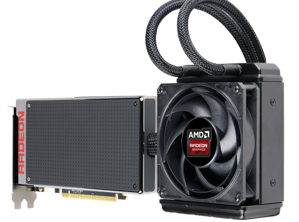 AMD Radeon R9 Fury X is an incredibly compact card for a high end product. Unfortunately, the liquid cooling solution is everyting but compact, and putting multiple GPUs in a single computer is a pain.
