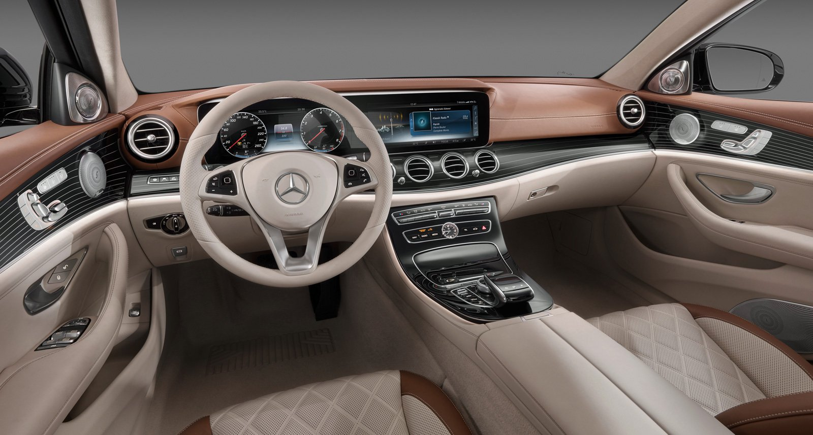 "The interior of the 2017 E-Class is dominated by two 12.3"" displays which the world saw first in Tesla Model S."