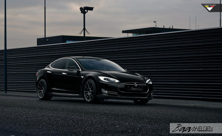 A Tesla Model S P85 Gets Vorsteiner Wheels