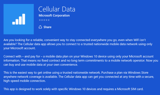 Microsoft Cellular Data app, visible in United States. The writing is on the wall...