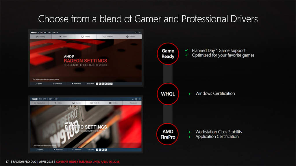 What Makes Radeon Pro? Game Ready and Pro Ready Drivers in one