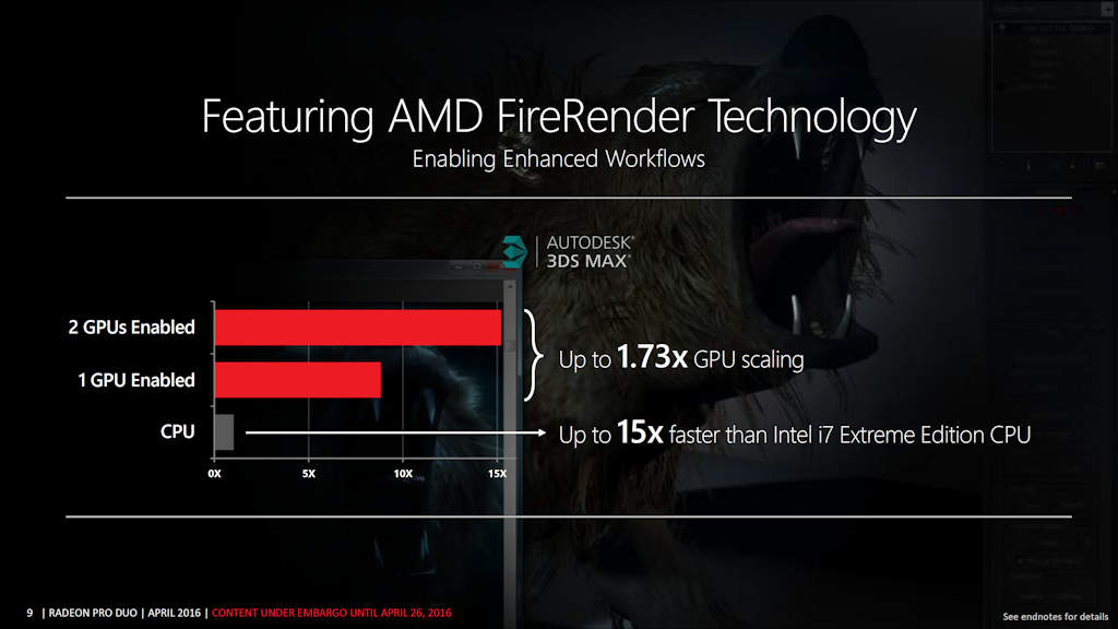 Fire Render performance on Radeon Pro Duo