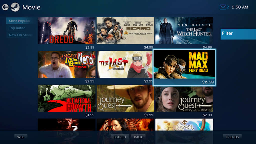 Watch movies on Steam