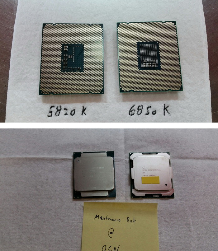 Intel Core i7-6850K Extreme Edition vs. 5820K. Credit: OCN