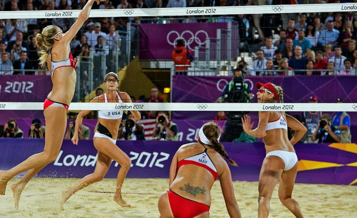 Team USA competing in the 2012 Olympics Volleyball. Credit: Sports Illustrated, CNN