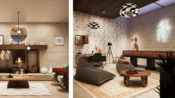 The Etsy House experience - Living room and game room