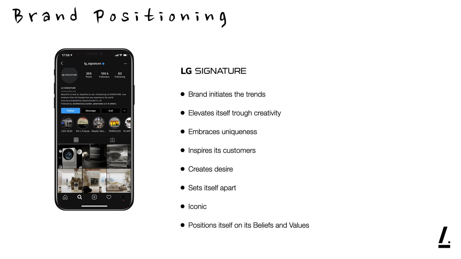 A slide made for LG Signature's social media campaign