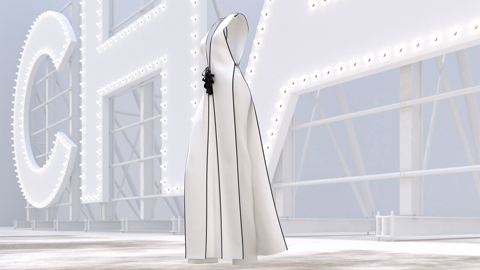 Digital fashion design software was used to create Chanel's Look 63. Image made by VSLB Creative Studio, based in Seoul.