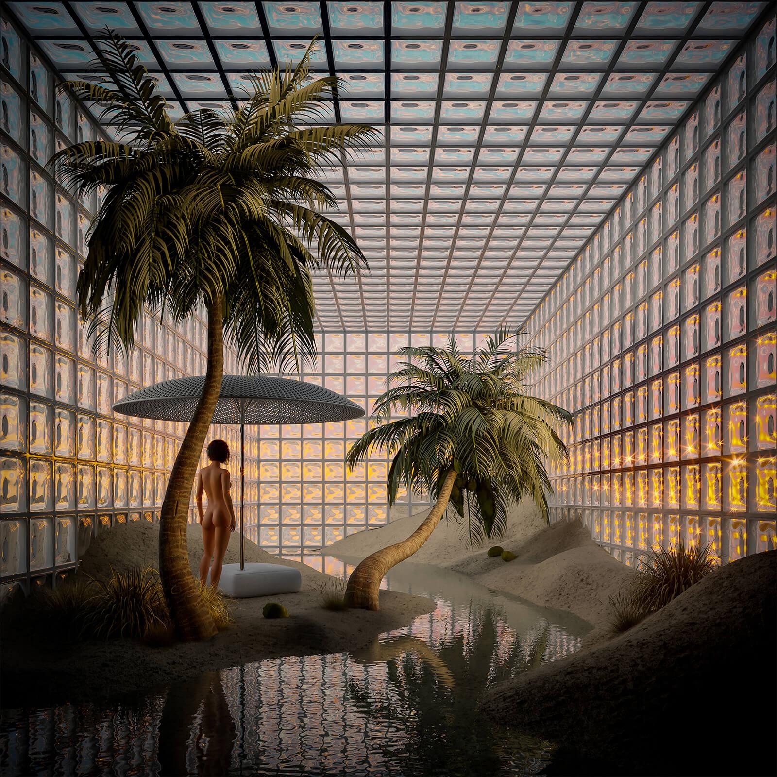 A private beach digital art created by Giacomo Mason