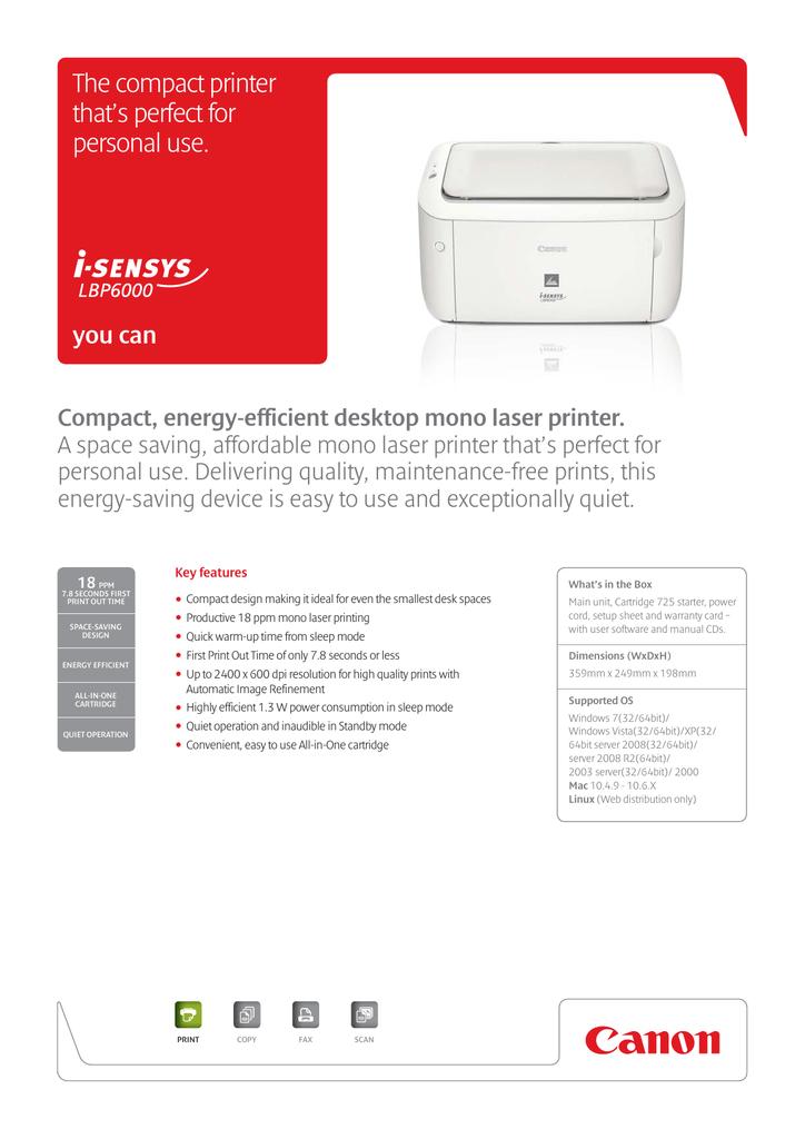 Canon Lbp 6000 Driver Download Free : canon, driver, download, Canon, I-SENSYS, LBP6000