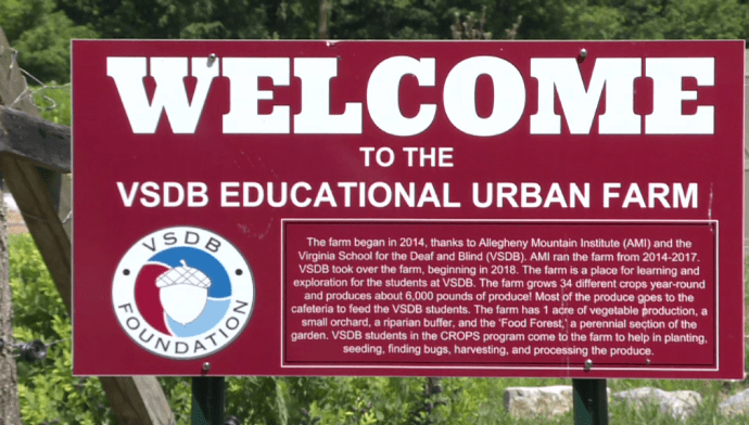 "Sign that reads ""Welcome to the VSDB Educational Urban Farm"""