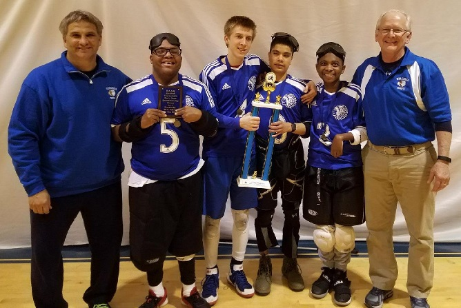 VSDB boys goalball team with trophy