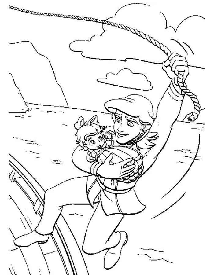 disegno di ariel e eric innamorati da colorare per bambini