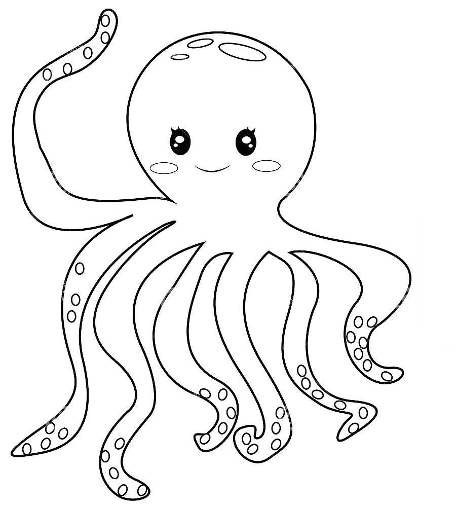 Раскраска осьминог скачать и распечатать