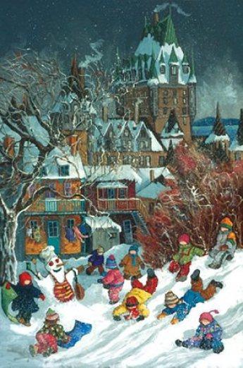 дети лепят снеговика и веселятся на улице