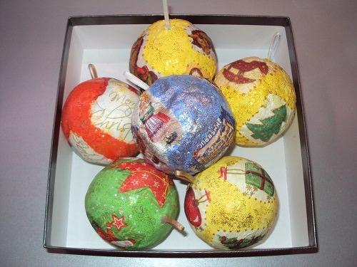новогодние шары из папье-маше