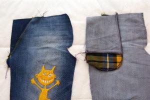 готовые карманы в боковом шве на детских джинсах