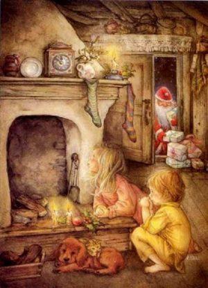 дети у камина в ожидании деда мороза