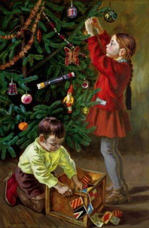 дети украшают елку