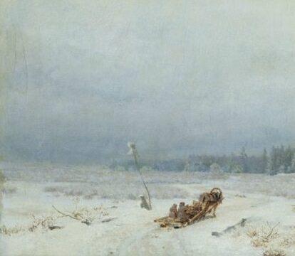 зимняя дорога с телегой