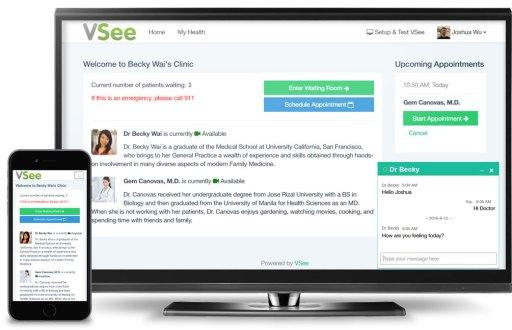VSee telehealth clinic, mobile app