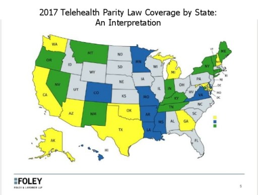 telehealth parity laws map