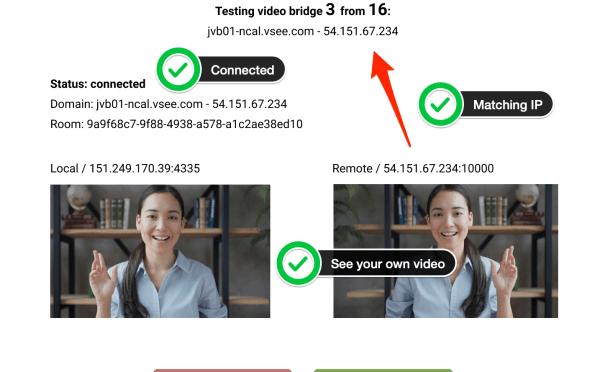 Connectivity Testing for Video Bridges