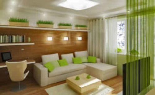 Эко стиль в интерьере гостиной-1