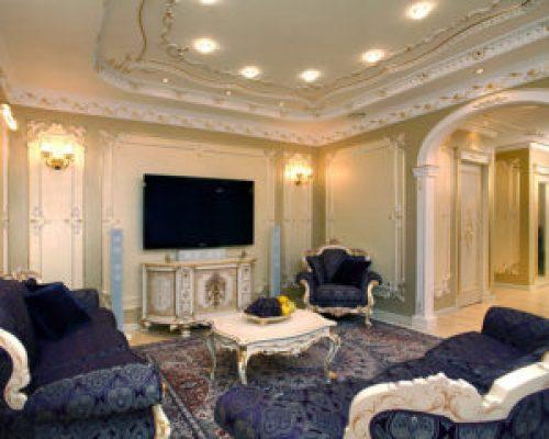Стиль Барокко в интерьере гостиной-2