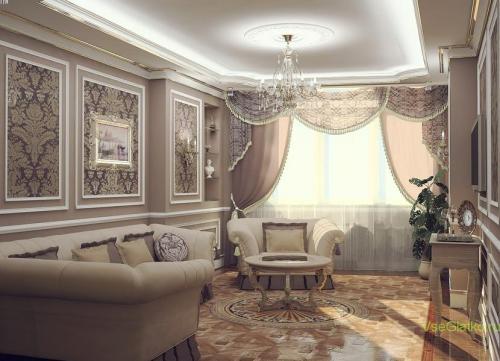 Классический стиль в интерьере гостиной-2