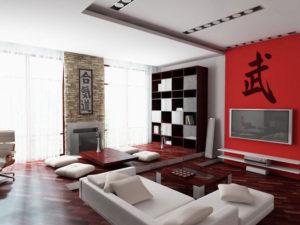 Японский стиль в интерьере гостиной-2