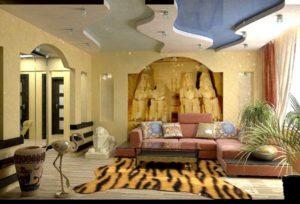 Египетский стиль в интерьере гостиной-2