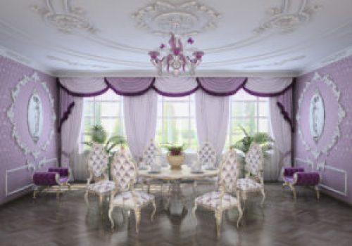 Стиль Рококо в интерьере гостиной-2