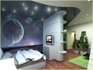 Космический стиль в интерьере детской комнаты-2