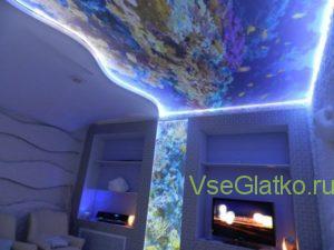 Подсветка светодиодной лентой потолка-1