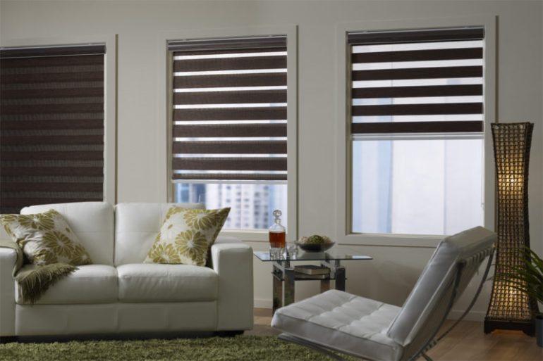 Интерьер: рулонные шторы в гостиную