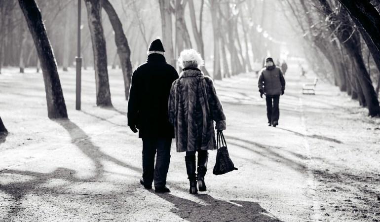 пожилая пара зимой в парке