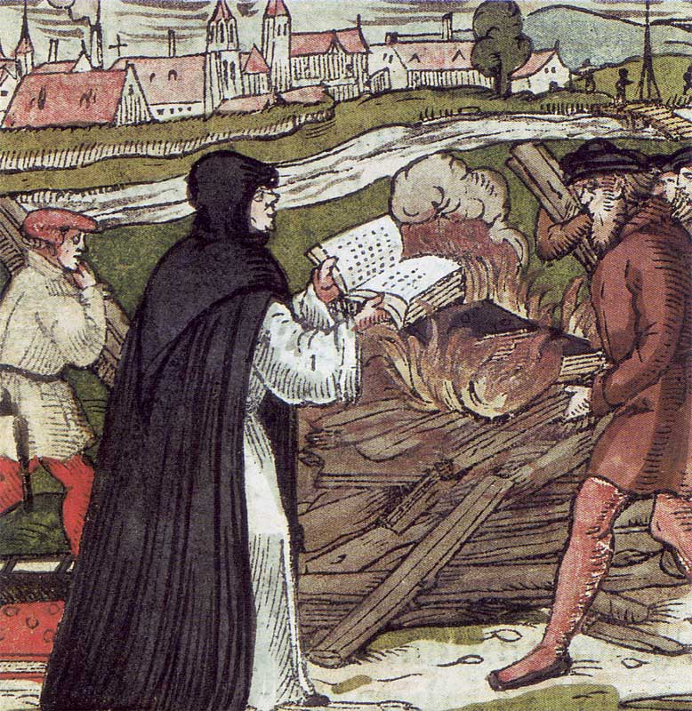 «Мартін Лютер спалює буллу», гравюра на дереві, 1557