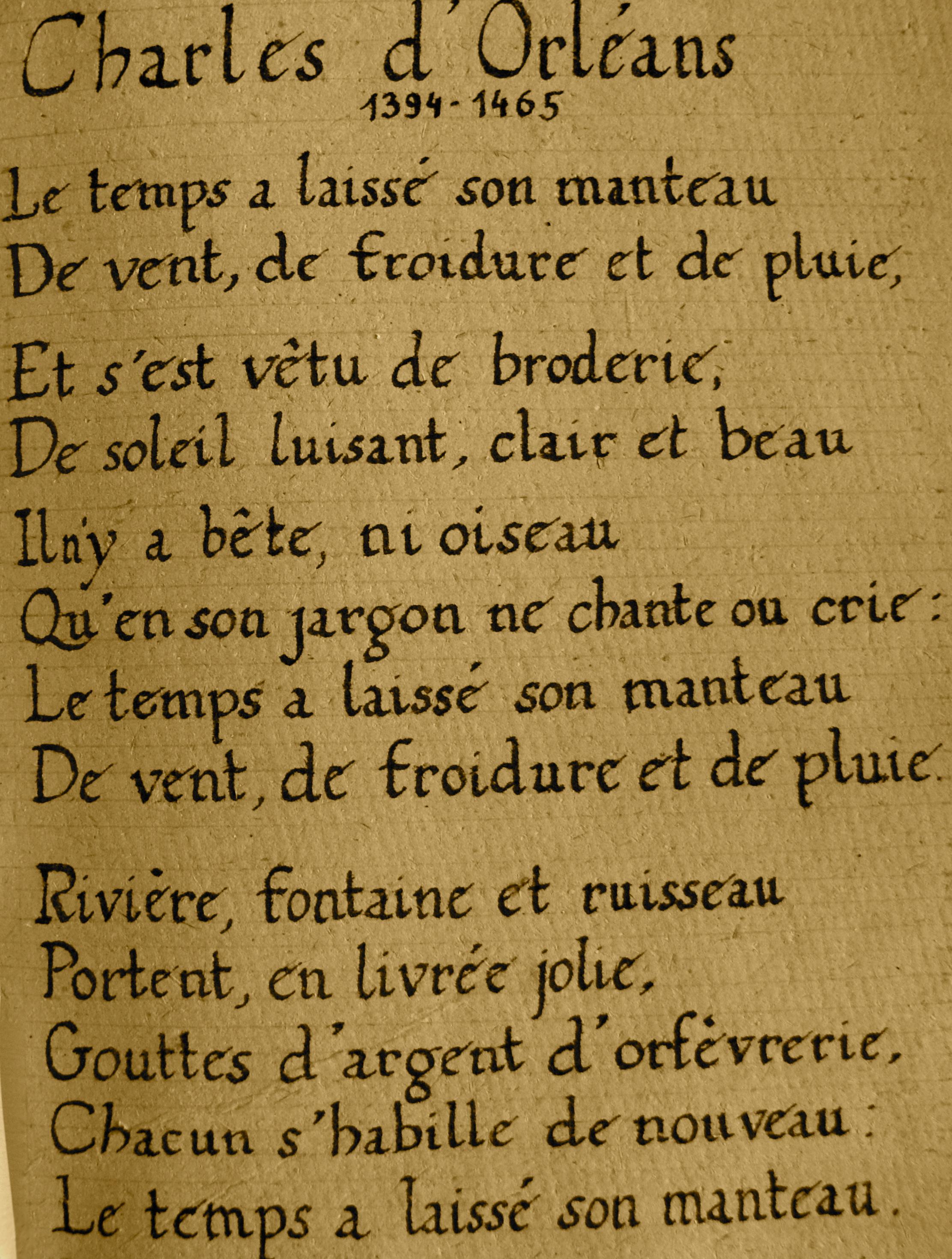Charles d'Orléans - Le temps a laissé son manteau - texte
