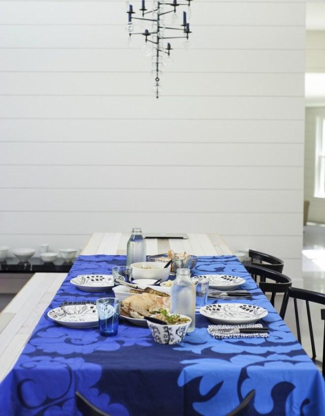 Marimekko tablecloth and Erik Höglund candelabra for Kosta Boda.