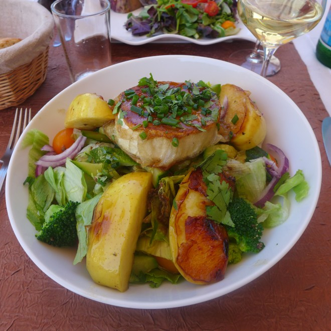 A delicious warm Goat Cheese salad in Meursault.