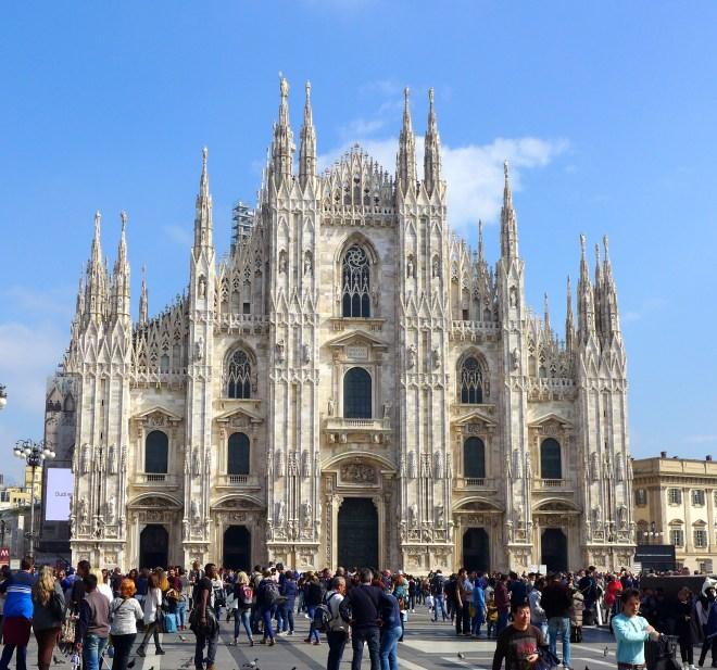 The Duomo in all its marbled glory. We did manage to have some sunshine in between all that rain and grey skies.
