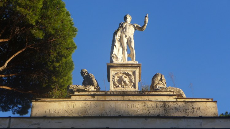 Entrance to the Borghese Gardens in Rome.