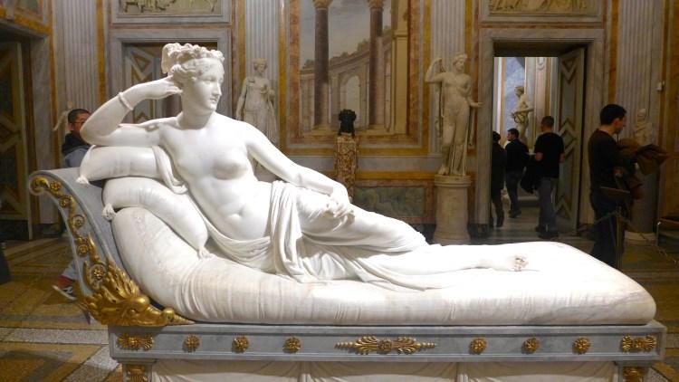 Marble sculpture of Paolina Borghese Bonaparte by Antonio Canova. Galleria Borghese.