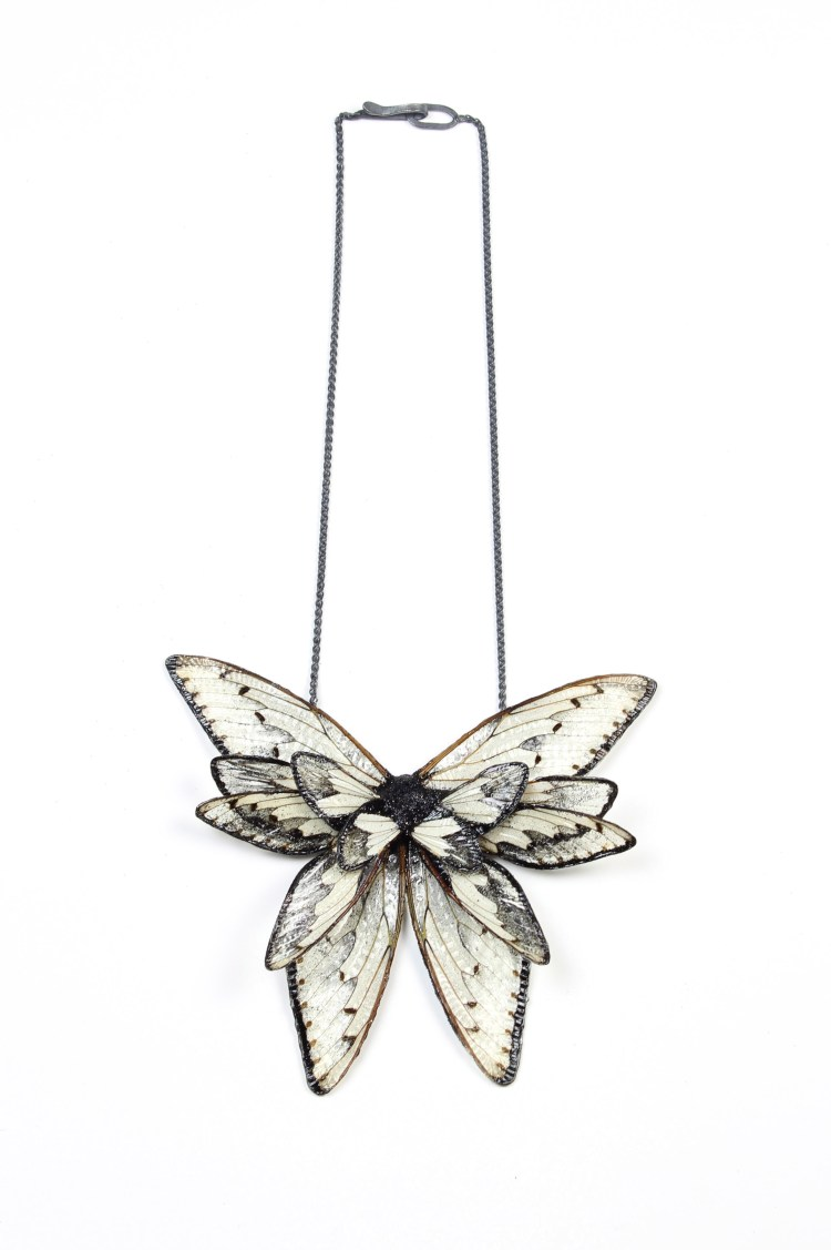 Märta Mattsson. Wings - Necklace. Cicada wings, resin, pigments, silver.