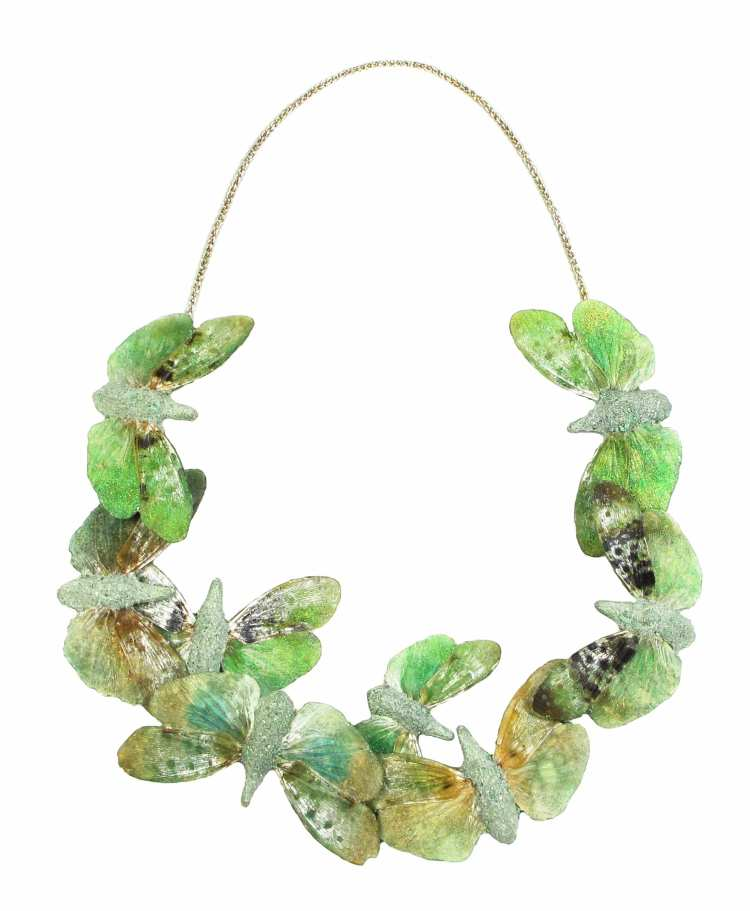Märta Mattsson. Necklace Cicadas, crushed olivine, resin, glitter, silver
