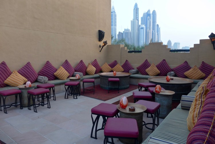 The Rooftop Bar at The Royal Mirage, perfect spot for a drink before dinner while watching the sunset.